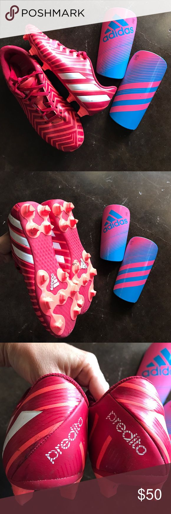 Adidas predito women's soccer cleats shinguards These are bright neon salmon pink and red soccer cleats made specifically for women, in size 8. They have a super grippy modern cleat design. I'm also including pink and blue adidas shinguards. I played about 3 games in these shoes, but was unable to keep playing due to injuries. I'm also including the adidas shinguards, which are size small. Adidas Shoes Athletic Shoes