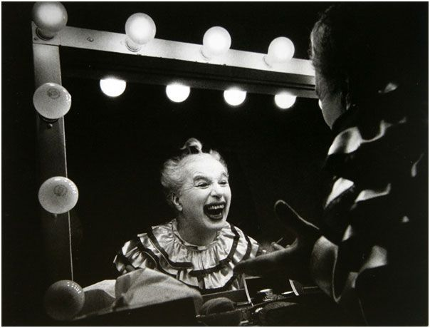 """Charlie Chaplin in makeup for the film """"Limelight"""", 1952   W. Eugene Smith"""