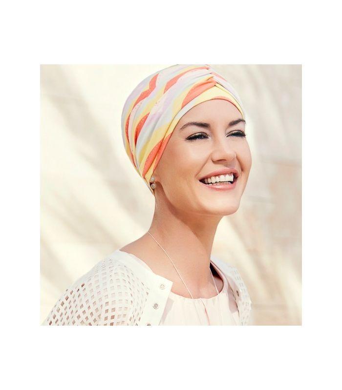 59 € - Mix création, 1 bonnet chimio orange + 1 bandeau bambou orange, en bambou très confortable, indispensable pour couvrir un chute de cheveux, alopécie...