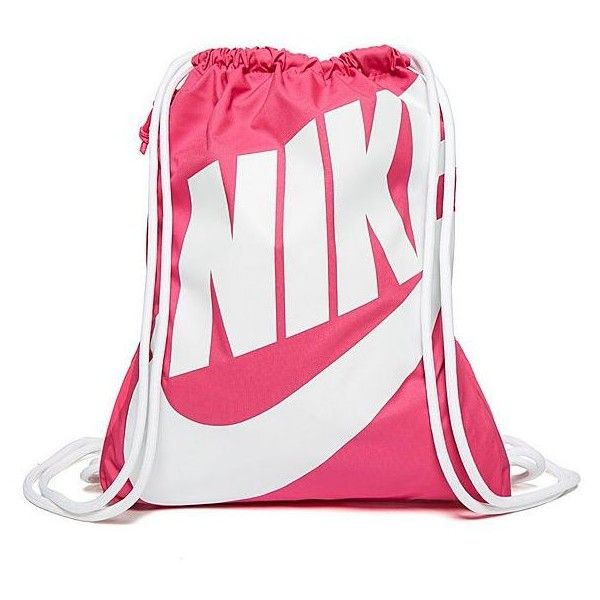 Nike Heritage Gymsack ($19) ❤ liked on Polyvore featuring bags, handbags, nike purse, nike bag, white purse, nike e drawstring purse