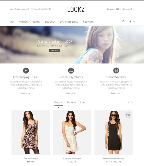 This parallax PrestaShop theme includes SEO optimization, a responsive layout, a minimal design, CSS3 and HTML5 code, RTL language support, speed optimization, cross-browser compatibility, Cloud Zoom, and more.