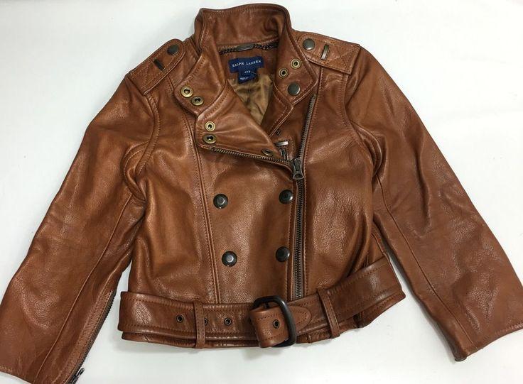 Ralph Lauren Polo Leather Jacket Girls 2 3 Brown Biker New #RalphLauren #Jacket #Everyday