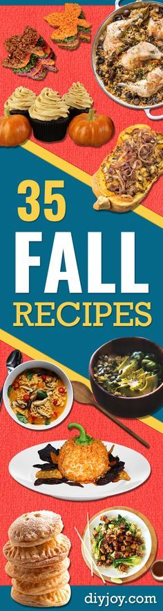 35 Fall Recipes - Best Quick And Easy Fall Recipe Ideas and Healthy Dishes You Can Make For Dinner, Soup, Appetizers, Crockpot and Slow Cooker Snacks and Drinks, Even Dessert http://diyjoy.com/best-fall-recipes