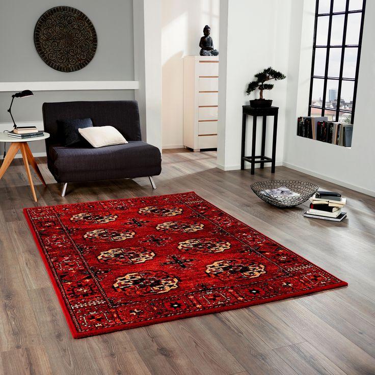 teppich rot schwarz. Black Bedroom Furniture Sets. Home Design Ideas