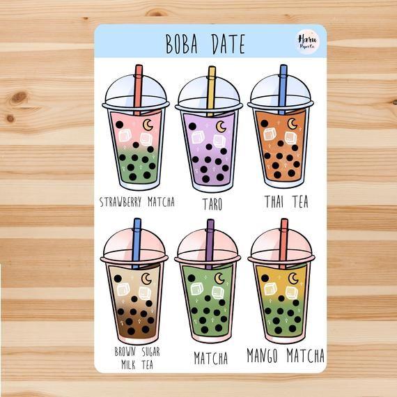 Aesthetic Bubble Tea themed Sticker Sheet
