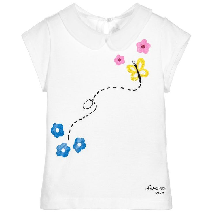 Simonetta Girls White Embroidered Blouse at Childrensalon.com