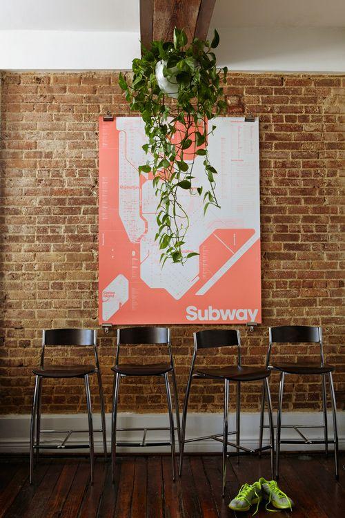 NYC Subway map in Michael Freimuth's Williamsburg Brooklyn apartment via @Design*Sponge