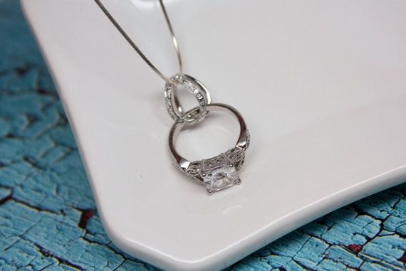 Ring Holder Necklace with Decorative Cage Solid Sterling by tmbox