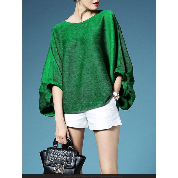 Green Pleated Plain Polyester Batwing T-Shirt ($88) ❤ liked on Polyvore featuring tops, t-shirts, green top, green tee, batwing t shirt, batwing tops and polyester t shirts
