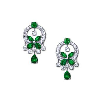 GE Emerald+Diam butterfly earrings_black