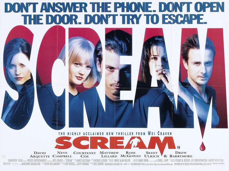 Scream - David Arquette, Neve Campbell, Courtney Cox, Matthew Lillard, Rose McGown, Skeet Ulrich, Drew Berrymore, Director Wes Craven
