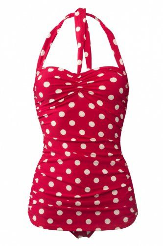 Esther Williams Women's 50s Pin Up One Piece Swimsuit-Red with white polka dots-8 Esther Williams Amazn