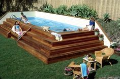 DIY Shipping Container pool!!p Idea for above ground or semi in ground pool have the steps built wide so people cn sit on them