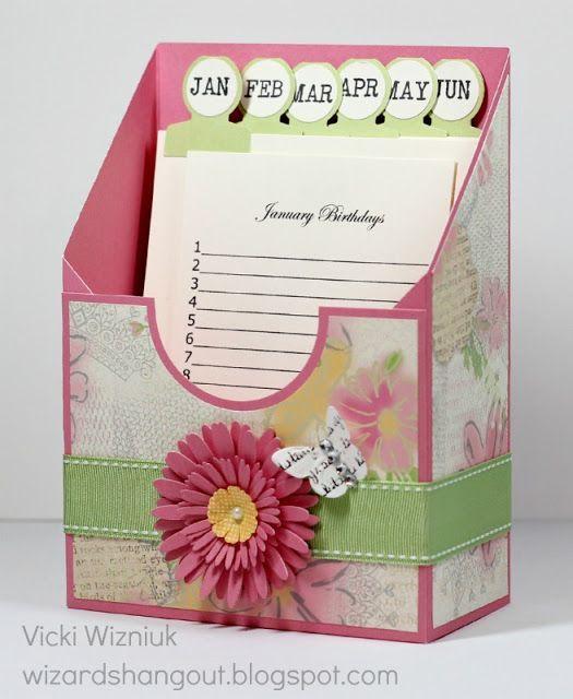 tutorial -  Birthday Card Keeper; tutorial for basics here: http://pinkbuckaroodesigns.blogspot.ca/2012/06/stampin-celebration-june-blog-hop.html#