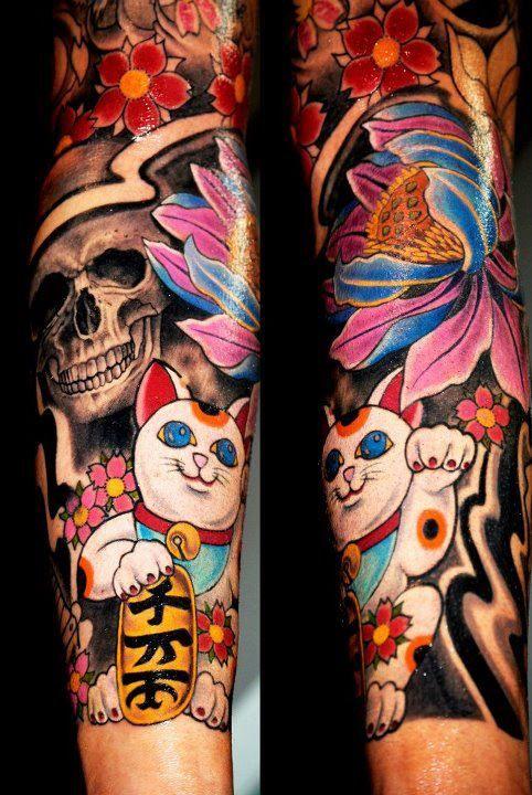 skull & japanese lucky cat tattoo