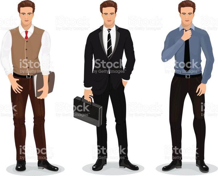 Homens com roupas elegantes. Conjunto de empresários. Detalhadas de personagens masculinos. Ilustração vetorial vetor e ilustração royalty-free royalty-free