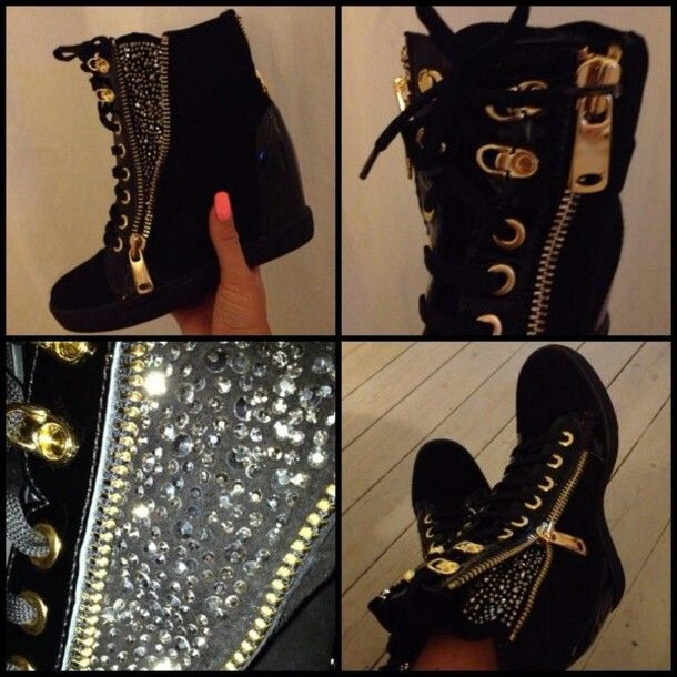 Black And Gold Sneaker Wedges I