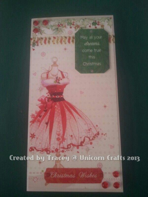Hunkydory pretty Christmas dress tall card.