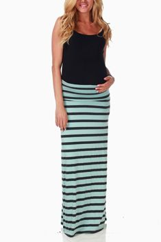 Mint Green Charcoal Stripe Maternity Maxi Skirt