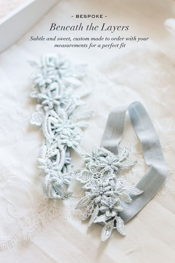 Percy Handmade - Daphne lace wedding garter set in powder blue