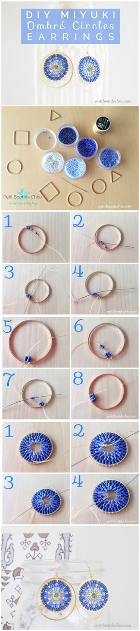 Learn how to make pretty ombre circles earrings with miyuki beads using the 2-bead circular brick stitch technique in this step by step tutorial.