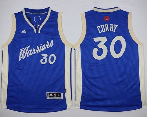 Warriors #30 Stephen Curry Blue 2015-2016 Christmas Day Stitched Youth NBA  jersey