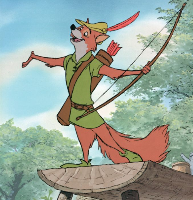 Robin is especially daring since he pairs green with his reddish-fur. A risk that might not work on the average fox, but–as we know–Robin Hood is not an average fox.