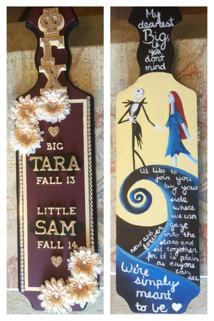 My paddle for my biggie  nightmare before Christmas because it's her favorite! Burgandy/maroon front with creme and gold accents #sororitylife #bigandlittle