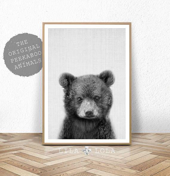 Bébé ours imprimer, animaux bois, décor de nurserie, imprimable numérique en téléchargement, animaux de la forêt, noir et blanc, affiche grand format, ourson