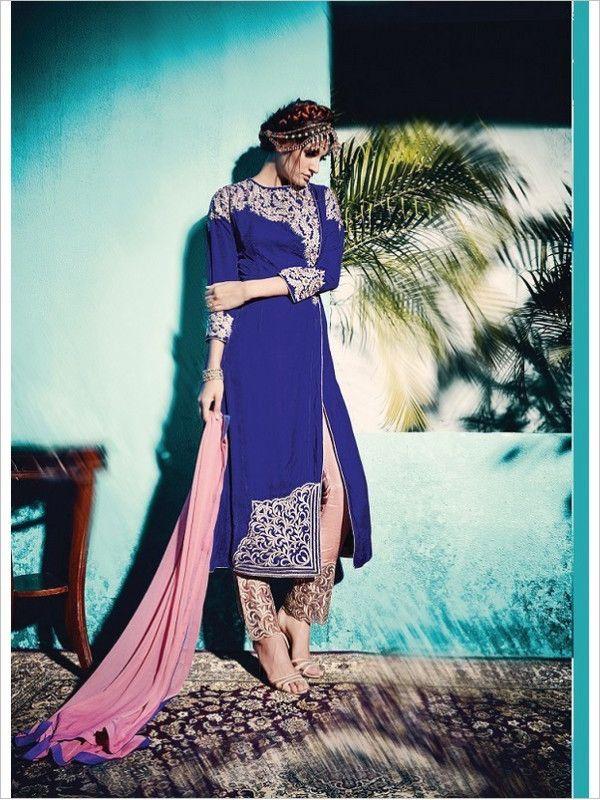 Blue Party Wear Velvet Suit