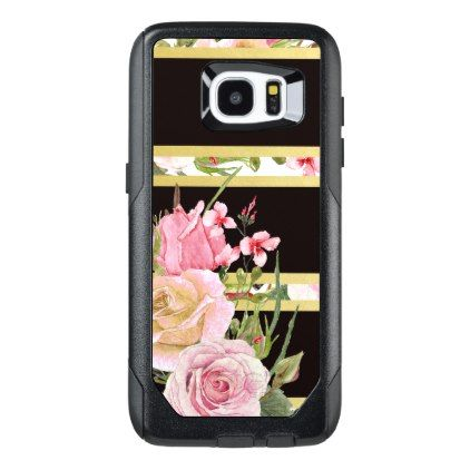 Pink Roses Stripe Pattern OtterBox Samsung Galaxy S7 Edge Case - rose gold style stylish diy idea custom