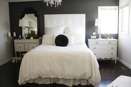 Guest bedroom.. but i don't have one of those, so how about my bedroom :) digging the dark grey wall