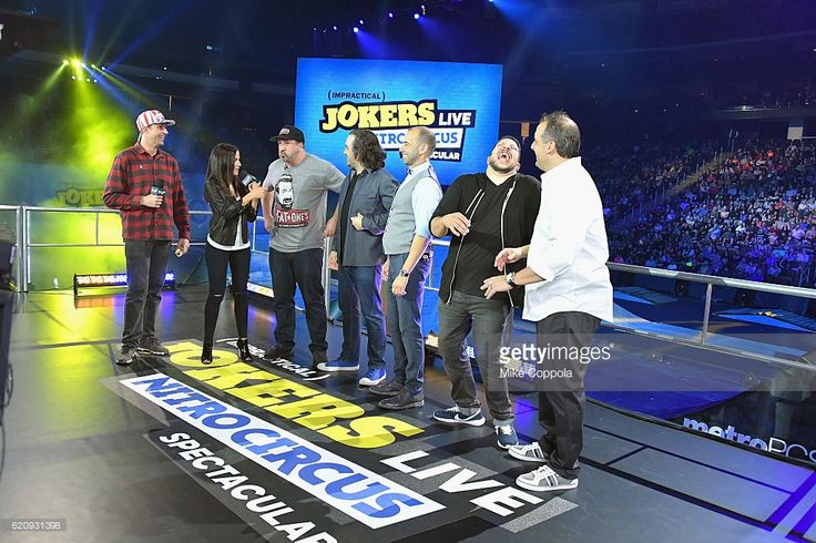 Travis Pastrana, Kay Adams, Joey Fatone, Brian Quinn, James Murray, Joe Gatto, and Sal Vulcano speak during Impractical Jokers Live: Nitro Circus Spectacular at Prudential Center on November 3, 2016 in Newark, New Jersey. JPG