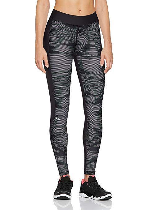 44e42fe0966 Under Armour Women's HeatGear Armour Printed Leggings, Black (003)/Metallic  Silver,