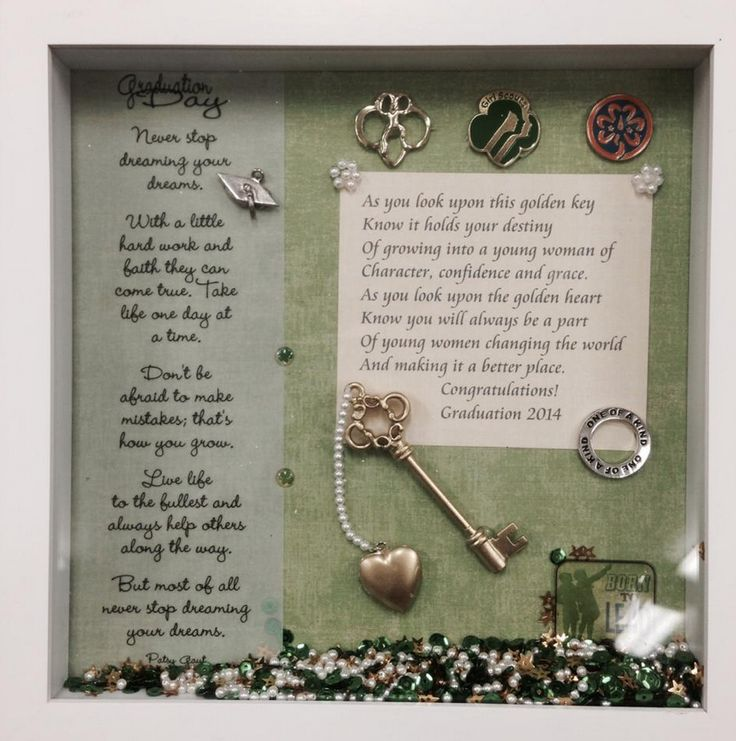 "Recently a leader posted a photo of a hand-made shadow box she made for one of her ""retiring"" ambassadors.  It is so beautiful and a true gift!  The inspirational words are sure to remind this girl scout of her scouting days.  The hand-made nature of the gift makes it even more special."