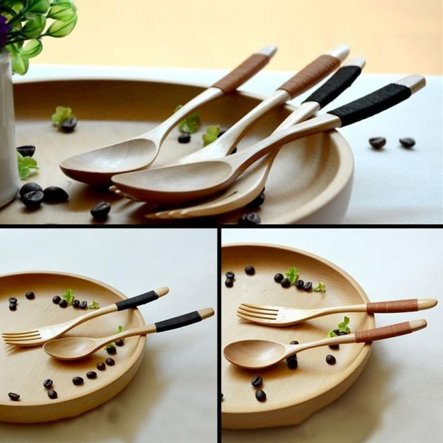 1 Set 2 Pieces Natural Eco Friendly Wooden Log Coffee Spoon Fork , Kitchen  Supplies