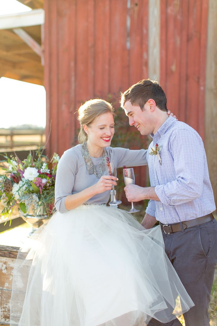 Love the casual sweater with a tulle skirt and heels for a glam elopement/courthouse wedding