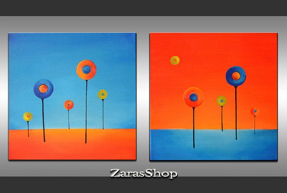 Spring abstract art lollipop trees acrylic painting by ZarasShop