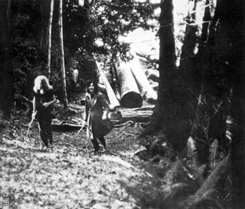 Jimmy Page and Robert Plant of Led Zeppelin at Bron-Yr-Aur Cottage near Machynleth in South Snowdownia, Wales