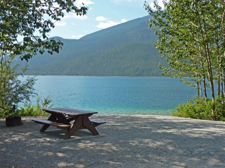 Lakeside camping at Muncho Lake Provincial Park- Strawberry Flats near Toad River - British Columbia