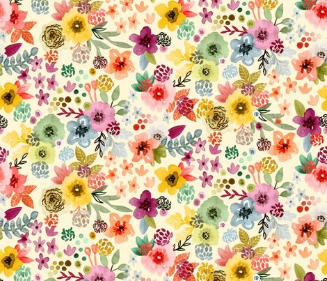 Spring Flowers fabric by angelger28 on Spoonflower - custom fabric