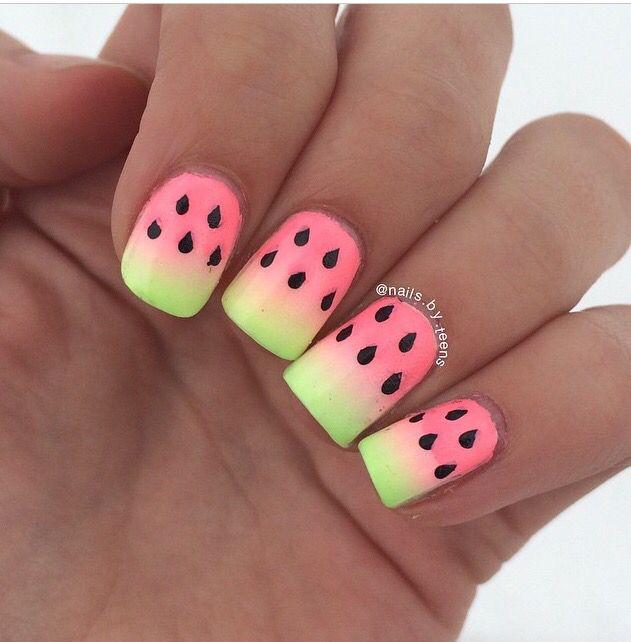 Ombre watermelon nails!