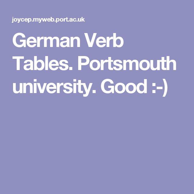 German Verb Tables. Portsmouth university. Good :-)