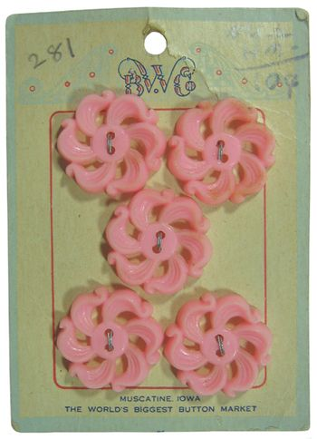"Vintage pink buttons on a card.  ""Muscatine Iowa The world's Biggest Button Market"""