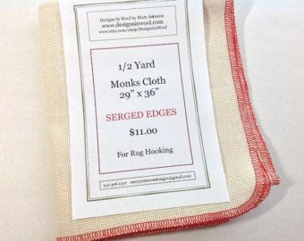 "Half Yard Monks Cloth for Rughooking with Serged Edges, 29"" x 36"", J781"