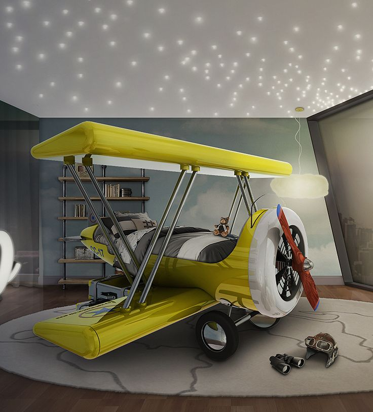 Sky B Plane makes the crib-to-bed transition as painless as possible. The decorative suitcases are storage compartments and allow the kid to climb up and down the airplane