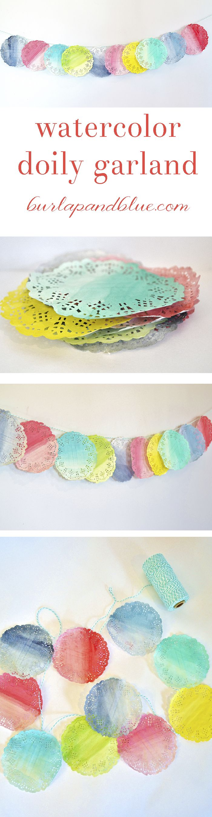 A 30 minute tutorial to a watercolor doily garland
