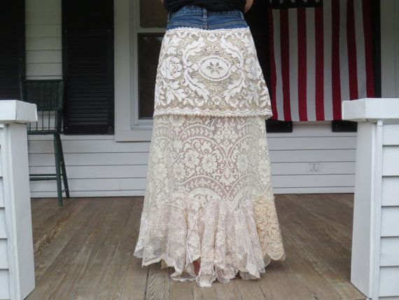 Bohemian Jean Long Lace Skirt Made in the USA by ArletteMichelle