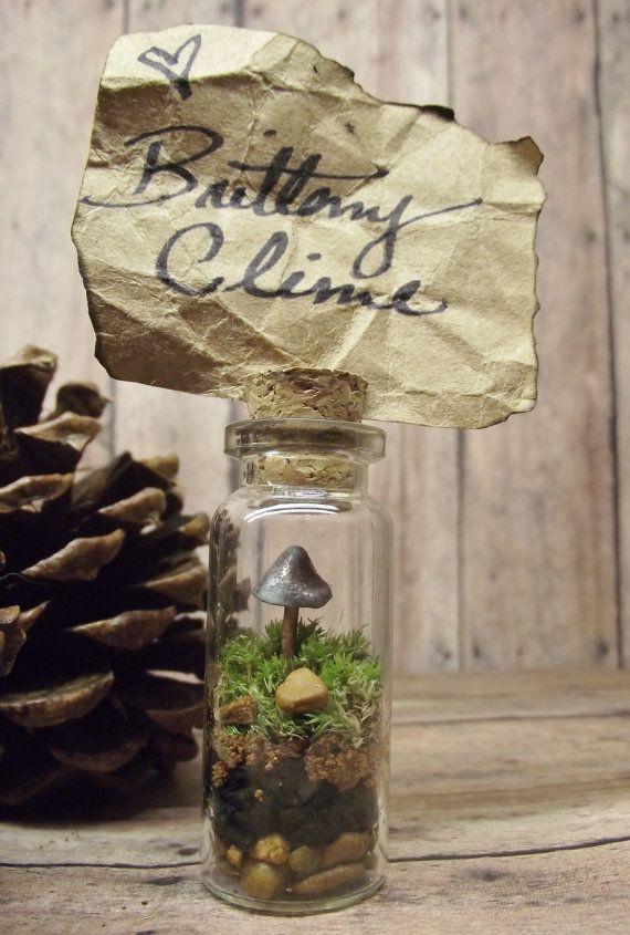 50 miniature terrarium wedding favor or place card holder, live moss raku fired glow in the dark ceramic mushroom - handmade by gypsy raku on etsy, $150.00