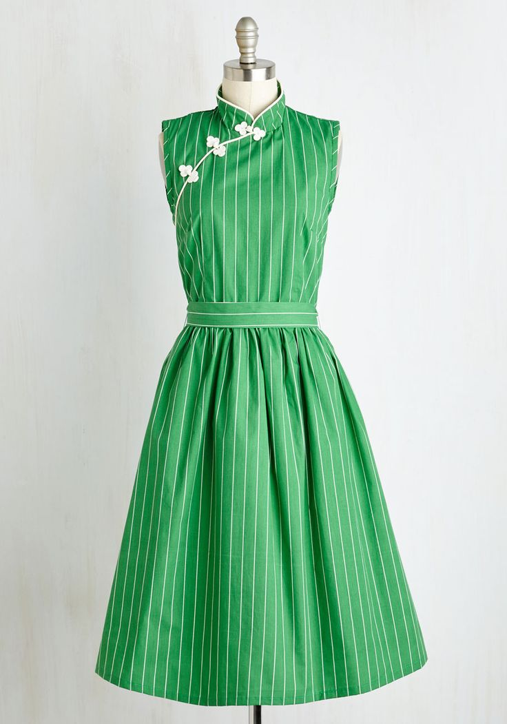 Biographical Book Club Dress in Shamrock. You discuss the lives of those remembered looking quite memorable yourself in this cotton, A-line dress! #green #modcloth